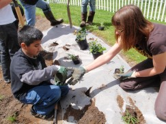 West Gresham Elem students help plant rain garden