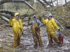 AmeriCorps volunteers Katie Boyd, Laura Barrow and Eva Birk plant trees along Fairview Creek in the snow.