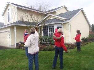 Jamie leads site planning exercise during rain garden workshop.