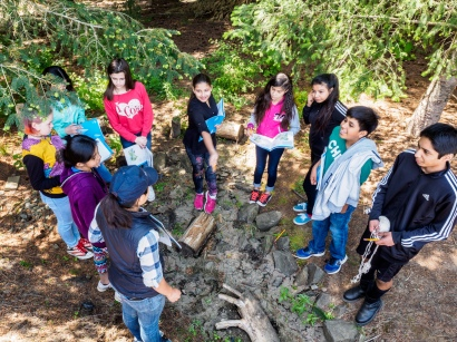 Kellyn Baez teaches about rain gardens - Tualatin River Farm watershed field trip program, photo John Driscoll