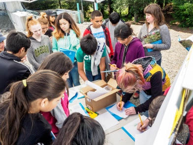 Drawing rain garden designs - Tualatin River Farm watershed field trip program, photo John Driscoll