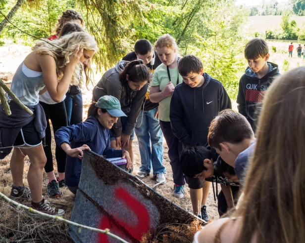 Finding snakes was a big hit - Tualatin River Farm watershed field trip program, photo John Driscoll